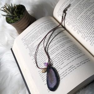 Purple agate necklace leather and brass chain